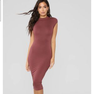 NEW Mock Neck Bodycon Dress - Red Brown